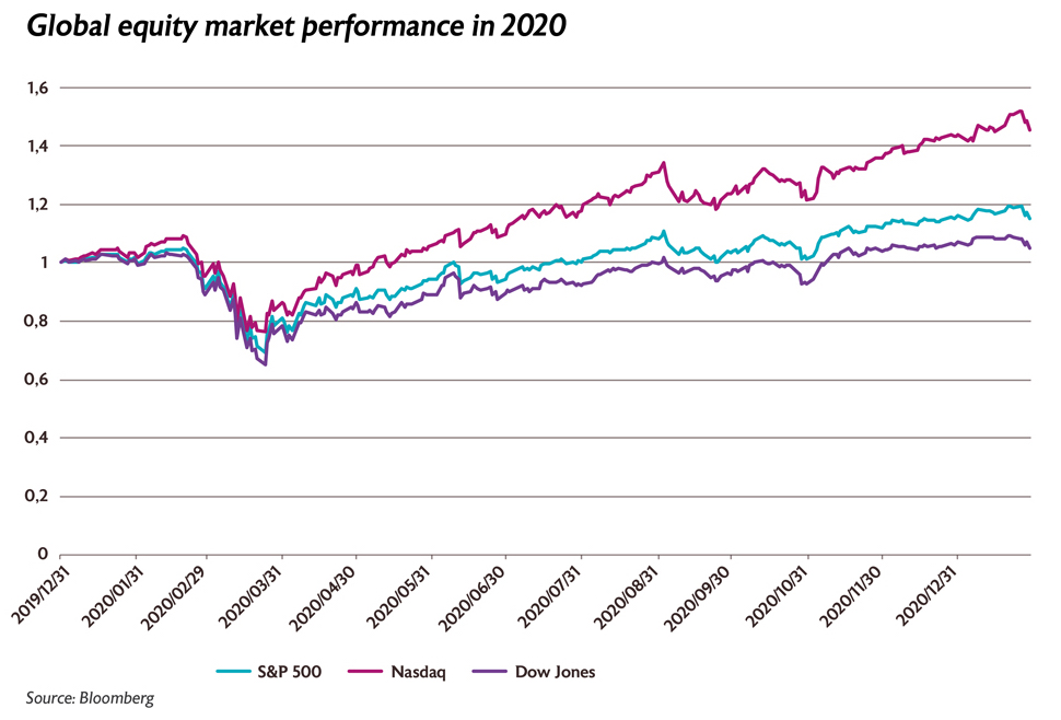 Global equity market performance in 2020