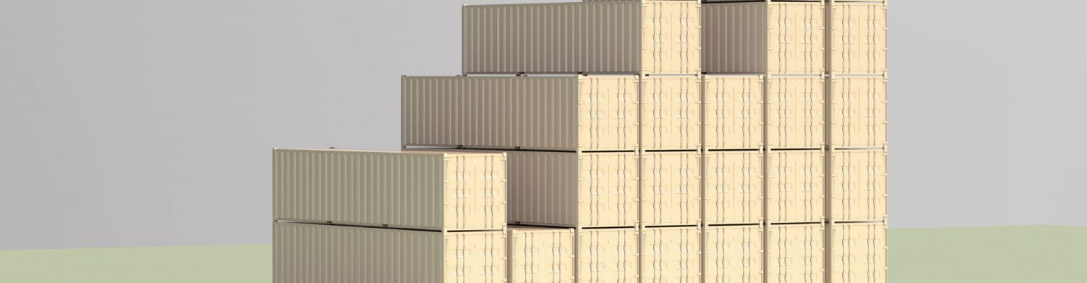 Digital generated image of rising bar graph made of containers green background.